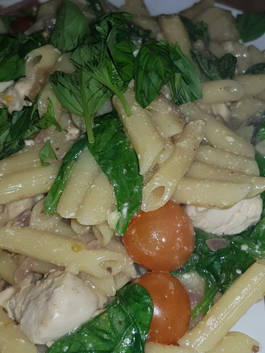 Chicken With Tomatoes, Mushrooms &Spinach